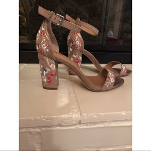 Madden size 7 nude heels with floral design